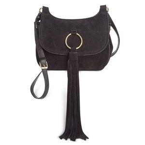 INC Sianna Black Faux Leather Saddle Handbag Purse